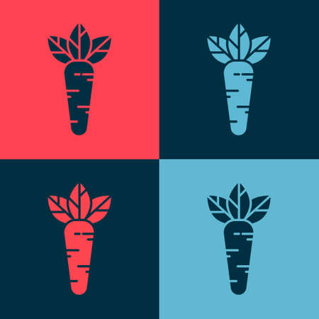 Pop art Carrot icon isolated on color background. Vector Illustration.