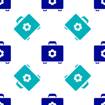 Blue Toolbox icon isolated seamless pattern on white background. Tool box sign.  Vector Illustration.