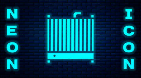 Glowing neon Car radiator cooling system icon isolated on brick wall background.  Vector Illustration.