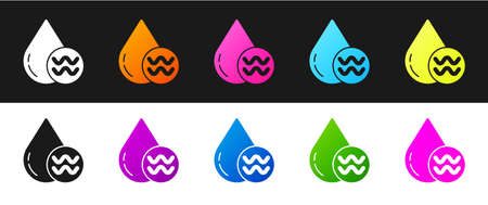 Set Recycle clean aqua icon isolated on black and white background. Drop of water with sign recycling. Vector Illustration.