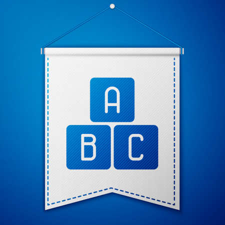 Blue ABC blocks icon isolated on blue background. Alphabet cubes with letters A,B,C. White pennant template. Vector Illustration.