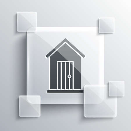 Grey Farm house icon isolated on grey background. Square glass panels. Vector Illustration.  イラスト・ベクター素材