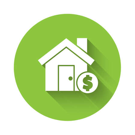 White House with dollar symbol icon isolated with long shadow. Home and money. Real estate concept. Green circle button. Vector Illustration. Ilustração