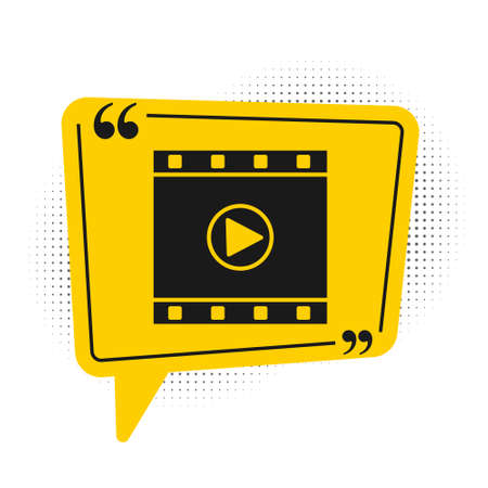Black Play Video icon isolated on white background. Film strip sign. Yellow speech bubble symbol. Vector Illustration.