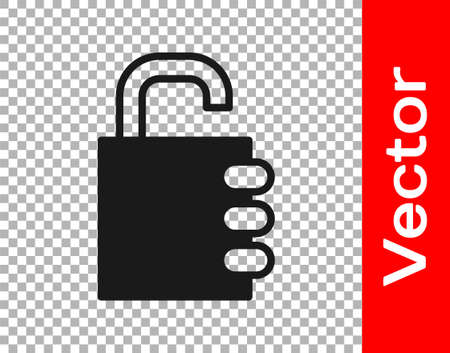Black Safe combination lock icon isolated on transparent background. Combination padlock. Security, safety, protection, password, privacy. Vector Illustration.