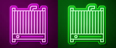 Glowing neon line Car radiator cooling system icon isolated on purple and green background. Vector Illustration.