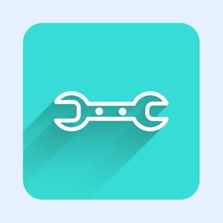 White line Wrench spanner icon isolated with long shadow. Green square button. Vector Illustration. 向量圖像