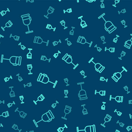 Green line Irish coffee icon isolated seamless pattern on blue background. Vector Illustration.