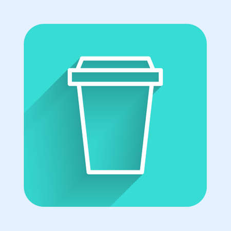 White line Coffee cup to go icon isolated with long shadow. Green square button. Vector Illustration.