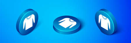 Isometric Sweater icon isolated on blue background. Pullover icon. Blue circle button. Vector Illustration.