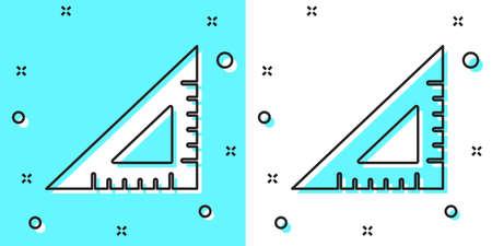 Black line Triangular ruler icon isolated on green and white background. Straightedge symbol. Geometric symbol. Random dynamic shapes. Vector Illustration.