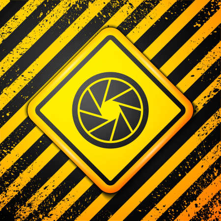 Black Camera shutter icon isolated on yellow background. Warning sign. Vector Illustration.