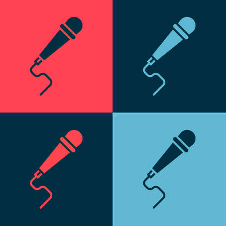 Pop art Microphone icon isolated on color background. On air radio mic microphone. Speaker sign. Vector Illustration.