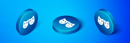 Isometric Comedy and tragedy theatrical masks icon isolated on blue background. Blue circle button. Vector Illustration.