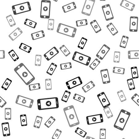 Black Online play video icon isolated seamless pattern on white background. Smartphone and film strip with play sign. Vector Illustration.