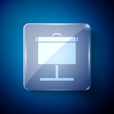 White Projection screen icon isolated on blue background. Business presentation visual content like slides, infographics and video. Square glass panels. Vector Illustration.