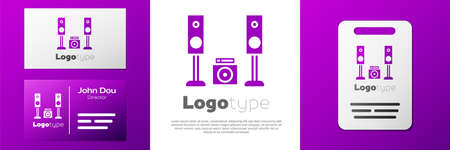 Logotype Home stereo with two speaker icon isolated on white background. Music system.