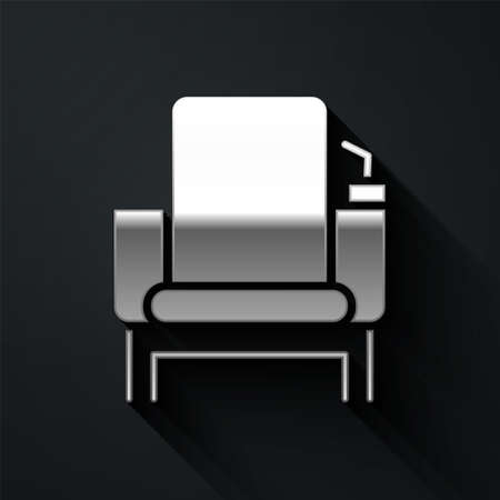 Silver Cinema chair icon isolated on black background. Long shadow style. Vector Illustration.