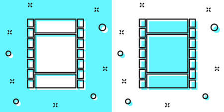 Black line Play Video icon isolated on green and white background. Film strip sign. Random dynamic shapes. Vector Illustration.  イラスト・ベクター素材