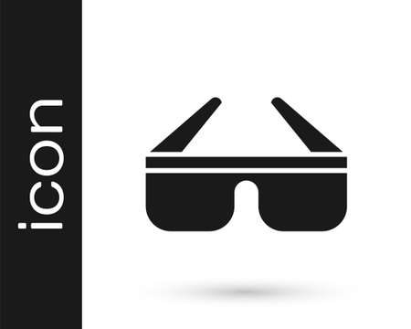 Grey 3D cinema glasses icon isolated on white background. Vector Illustration.
