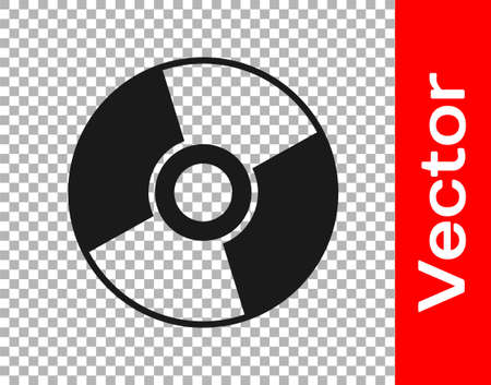 Black CD or DVD disk icon isolated on transparent background. Compact disc sign. Vector Illustration.