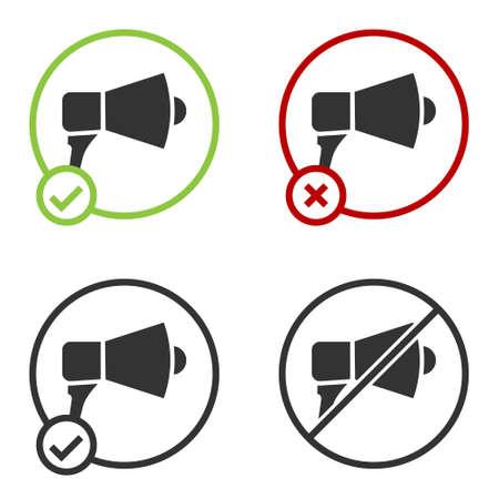 Black Megaphone icon isolated on white background. Speaker sign. Circle button. Vector Illustration. Ilustrace