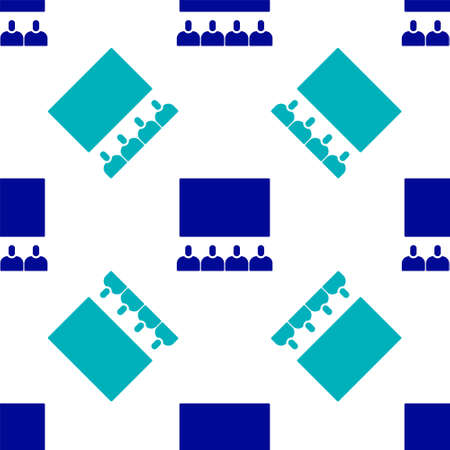 Blue Cinema auditorium with screen icon isolated seamless pattern on white background. Vector Illustration. Ilustrace