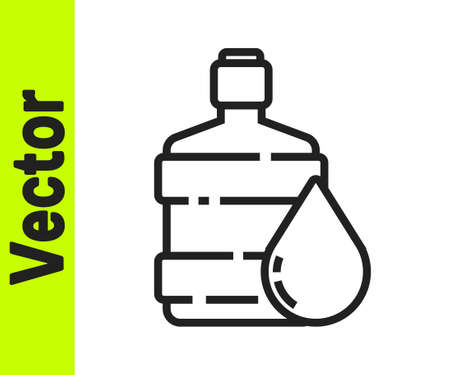 Black line Big bottle with clean water icon isolated on white background. Plastic container for the cooler. Vector Illustration. Ilustração