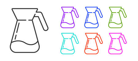Black line Jug glass with water icon isolated on white background. Kettle for water. Glass decanter with drinking water. Set icons colorful. Vector Illustration. Stock fotó - 151117110