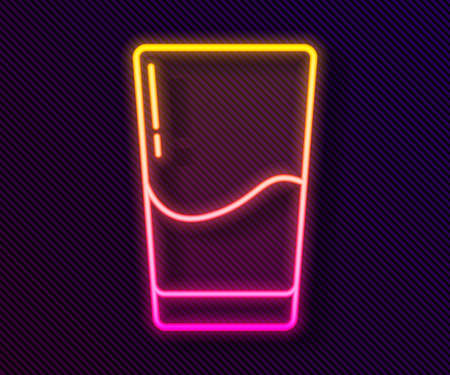 Glowing neon line Glass with water icon isolated on black background. Soda glass. Vector Illustration. Stock fotó - 151117113