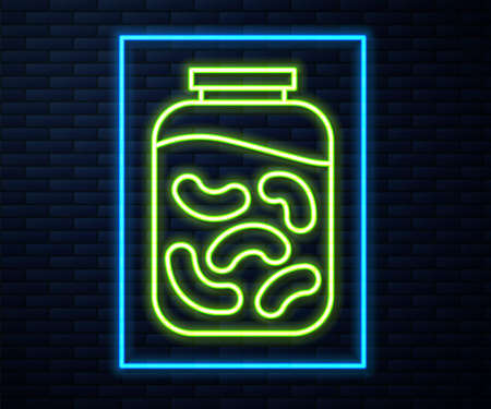 Glowing neon line Pickled cucumbers in a jar icon isolated on brick wall background. Vector Illustration.