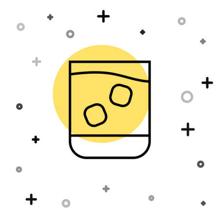 Black line Glass of whiskey and ice cubes icon isolated on white background. Random dynamic shapes. Vector Illustration. Stock fotó - 151116995