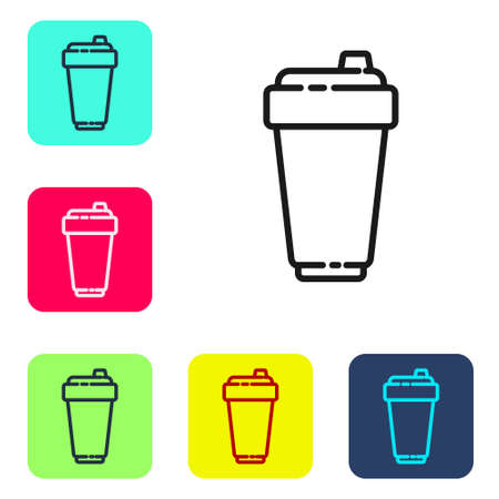 Black line Fitness shaker icon isolated on white background. Sports shaker bottle with lid for water and protein cocktails. Set icons in color square buttons. Vector Illustration. Ilustração