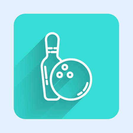 White line Bowling pin and ball icon isolated with long shadow. Sport equipment. Green square button. Vector Illustration.