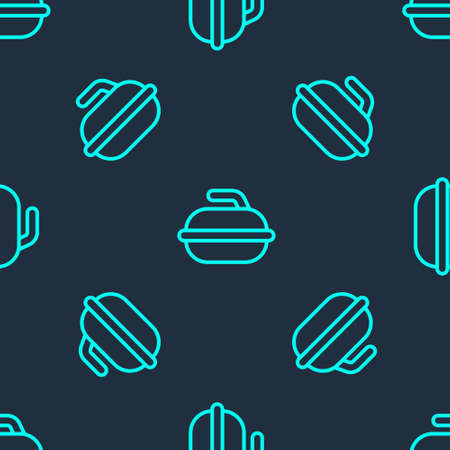 Green line Stone for curling sport game icon isolated seamless pattern on blue background. Sport equipment. Vector Illustration. Illusztráció