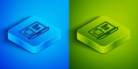 Isometric line Online real estate house on laptop icon isolated on blue and green background. Home loan concept, rent, buy, buying a property. Square button. Vector Illustration.