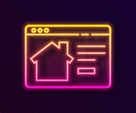 Glowing neon line Online real estate house in browser icon isolated on black background. Home loan concept, rent, buy, buying a property. Vector Illustration. Ilustração