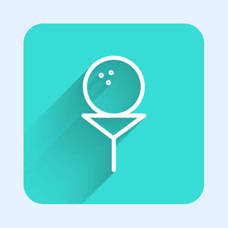 White line Golf ball on tee icon isolated with long shadow. Green square button. Vector Illustration. Illustration