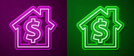 Glowing neon line House with dollar symbol icon isolated on purple and green background. Home and money. Real estate concept. Vector Illustration.