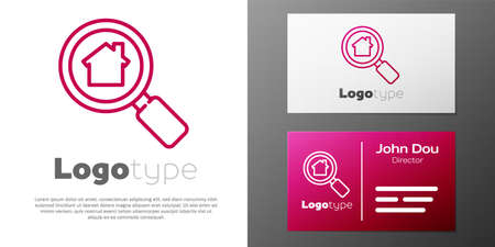 Logotype line Search house icon isolated on white background. Real estate symbol of a house under magnifying glass. Ilustração