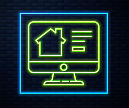 Glowing neon line Online real estate house on monitor icon isolated on brick wall background. Home loan concept, rent, buy, buying a property. Vector Illustration. Ilustração