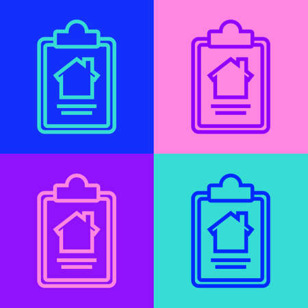 Pop art line House contract icon isolated on color background. Contract creation service, document formation, application form composition. Vector Illustration.