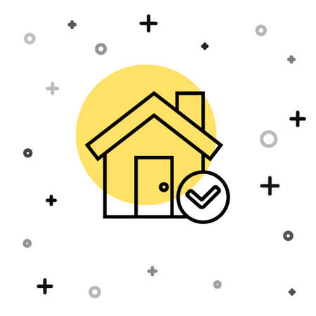 Black line House with check mark icon isolated on white background. Real estate agency or cottage town elite class. Random dynamic shapes. Vector Illustration. Ilustração