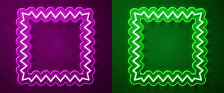 Glowing neon line Leather icon isolated on purple and green background. Vector Illustration. Ilustração