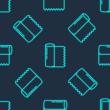 Green line Textile fabric roll icon isolated seamless pattern on blue background. Roll, mat, rug, cloth, carpet or paper roll icon. Vector Illustration.
