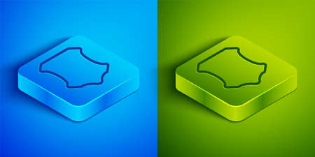 Isometric line Leather icon isolated on blue and green background. Square button. Vector Illustration.