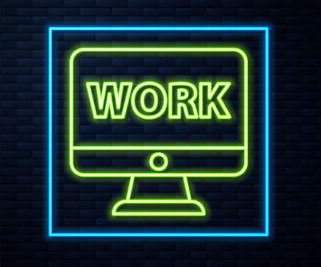 Glowing neon line Computer monitor with text work icon isolated on brick wall background. Vector Illustration. Ilustrace