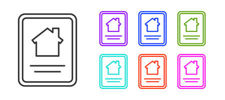 Black line Online real estate house on tablet icon isolated on white background. Home loan concept, rent, buy, buying a property. Set icons colorful. Vector Illustration.