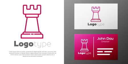Logotype line Business strategy icon isolated on white background. Chess symbol. Game, management, finance.