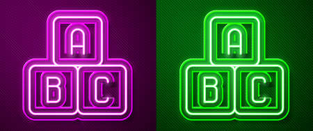 Glowing neon line ABC blocks icon isolated on purple and green background. Alphabet cubes with letters A,B,C. Vector Illustration. 向量圖像